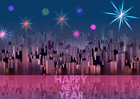 works: New Year Party Poster Template with City Skyline and Fireworks - Vector Illustration
