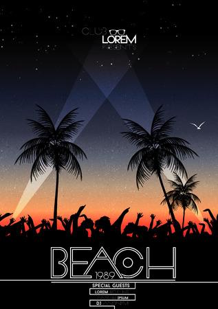 playas tropicales: Summer Beach Party Vector Flyer - ilustración vectorial