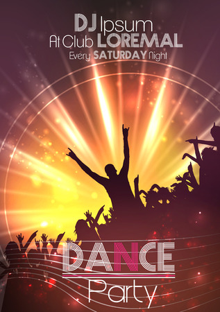 dance club: Dance Party Poster Background Template - Vector Illustration Illustration
