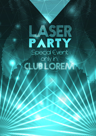 party flyer: Laser Disco Party Poster Background Template - Vector Illustration