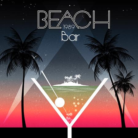 lounge bar: Cocktail Party Invitation Poster - Vector Illustration Illustration