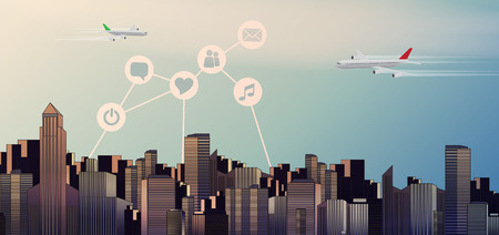 metropole: Colorful Modern City Skyline Landscape at Sunset with Planes -Vector Illustration