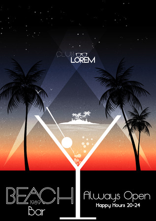 Cocktail Party Invitation Poster - Vector Illustration Ilustrace