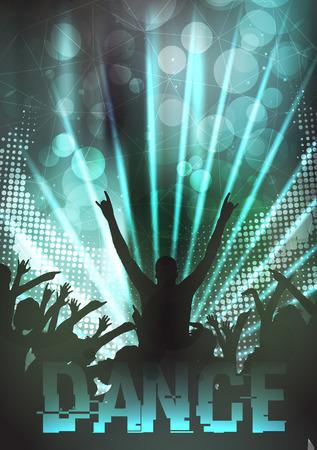 Dance Party Poster achtergrond sjabloon - Vector Illustratie