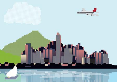 Retro Eight Bit City Skyline with Reflections Background - Vector Illustration Illustration