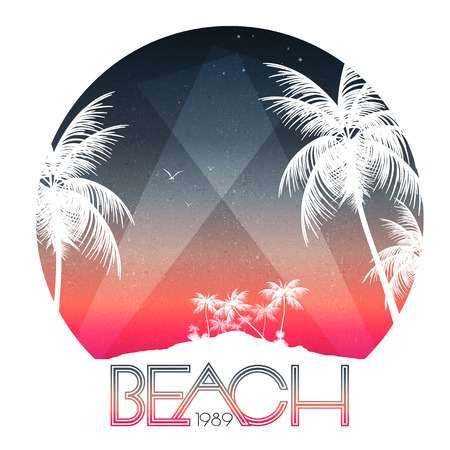 island beach: Beach Party Poster with Tropical Island and Palm Trees - Vector Illustration