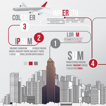 multi storey: City Skyline Background with Infographic - Vector Illustration Illustration