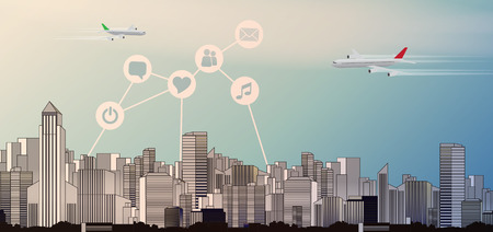 metropole: Abstract City Skyline with Social Media, Network and Web Design Elements - Vector Illustration