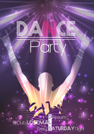 abstract dance: Dance Party Poster Background Template - Vector Illustration Illustration