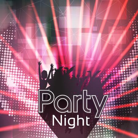 spot lights: Party People Laser Disco Flyer Template - Vector Illustration