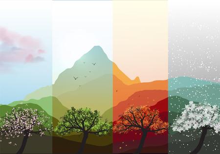 Four Seasons Banners Primavera, Estate, Autunno, Inverno con astratto alberi e montagne - illustrazione vettoriale