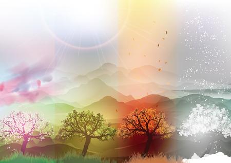estaciones del a�o: Cuatro banderas de las estaciones de primavera, verano, oto�o, invierno con �rboles abstractos y las monta�as - ilustraci�n vectorial