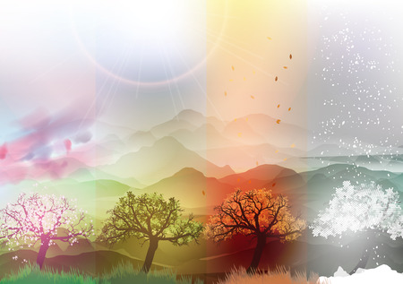 Four Seasons Banners Spring, Summer, Fall, Winter with Abstract Trees and Mountains  - Vector Illustration Çizim