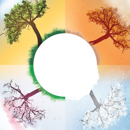 Four Seasons Spring, Summer, Autumn, Winter Banners with Abstract Trees - Vector Illustration Illustration