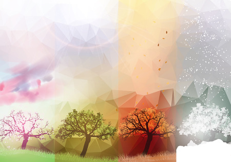 Four Seasons Banners with Abstract Trees - Vector Illustration Illustration