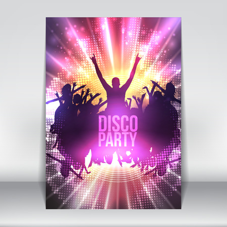 disco: Dance Party Night Poster Background Template - Vector Illustration