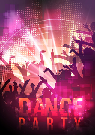 party friends: Dance Party Night Poster Background Template - Vector Illustration
