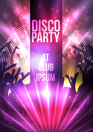 disco dancing: Dance Party Night Poster Background Template - Vector Illustration