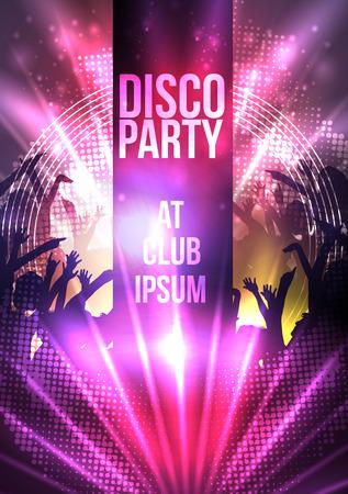 fiesta: Dance Party Noche Plantilla del cartel de fondo - ilustraci�n vectorial