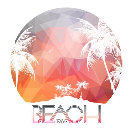 Cartel Beach Party con Tropical Island y palmeras - ilustración vectorial Foto de archivo - 38112329