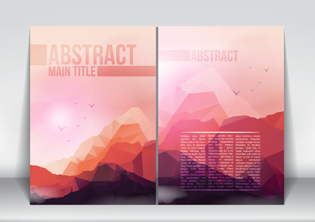 Abstract Flyer Brochure Design Template with Geometric Mountains Background - Vector Illustration