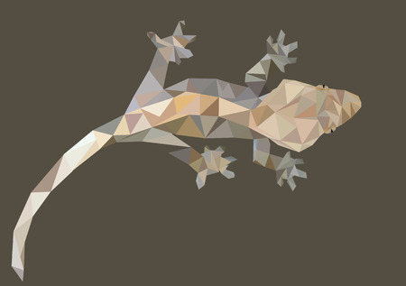 crested gecko: Abstract Low Poly Gecko, Crested gecko (Correlophus ciliatus) - Vector Illustration