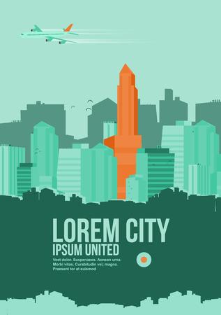 modern buildings: R�sum� plat style brochure de gratte-ciel et des b�timents modernes - illustration vectorielle