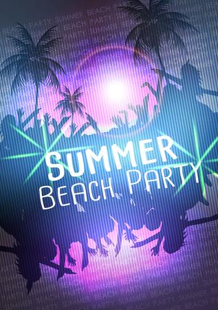 Summer Beach Party Vector Flyer  Vector Illustration Illustration