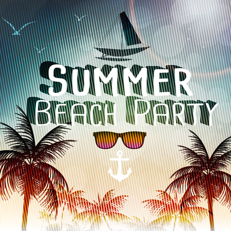 ocean view: Beach Party Poster with Palm Trees  Vector Illustration