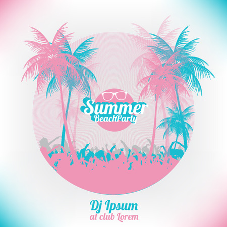 retro sunrise: Retro Summer Beach Party Vector Flyer  Vector Illustration
