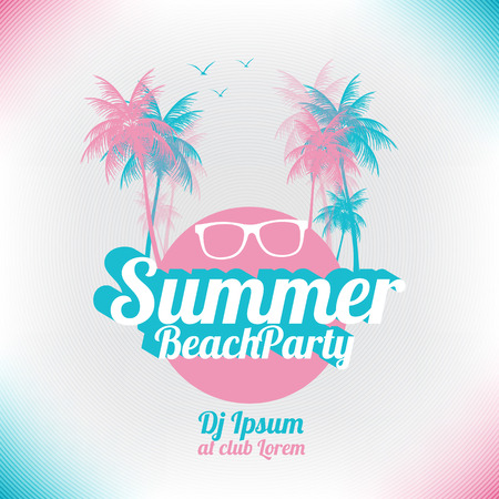 sunset tree: Retro Summer Beach Party Vector Flyer  Vector Illustration