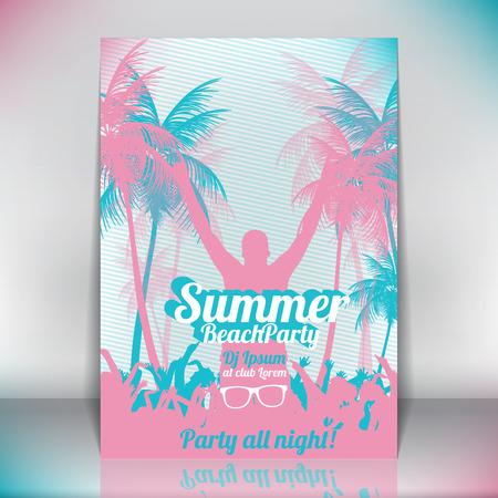 Retro Summer Beach Party Vector Flyer  Vector Illustration
