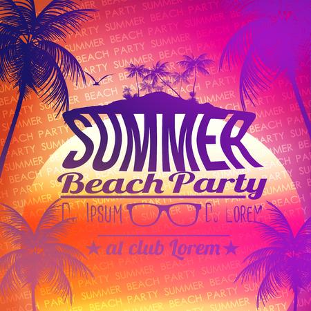 Summer Beach Party Poster - Vector Illustration Illustration