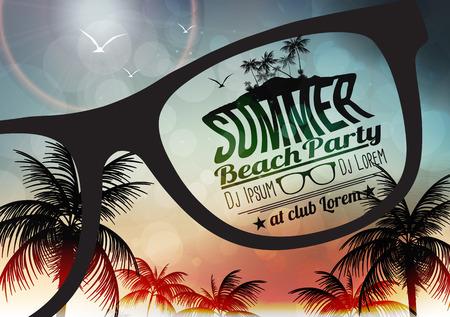playas tropicales: Summer Party Beach Poster - ilustración vectorial