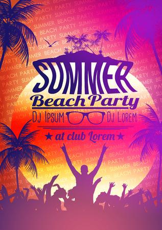 sunset beach: Summer Beach Party Poster - Vector Illustration Illustration