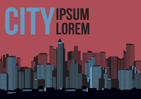 city background: Retro City Background -Vector Illustration Illustration