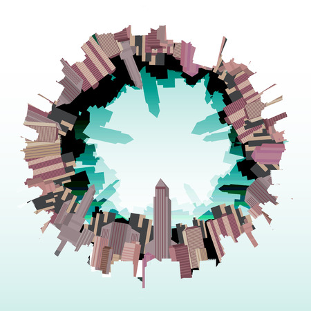 uptown: City Skyline Fish eye- Vector Illustration