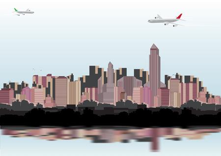 skyline city: City Skyline - Vector Illustration