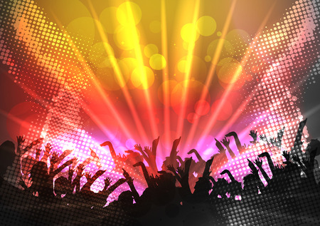 stage: Party People Crowd, Festive Disco Event Background - Vector Illustration