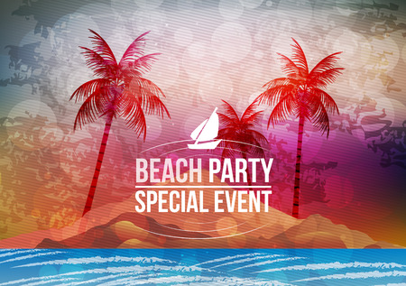 summer beach party: Summer Beach Party Poster - Vector Illustration Illustration