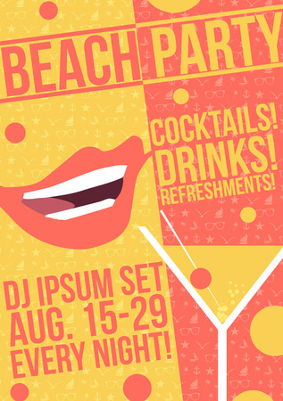 retro illustration: Tropical Cocktail Party Poster Design - Vector Illustration Illustration