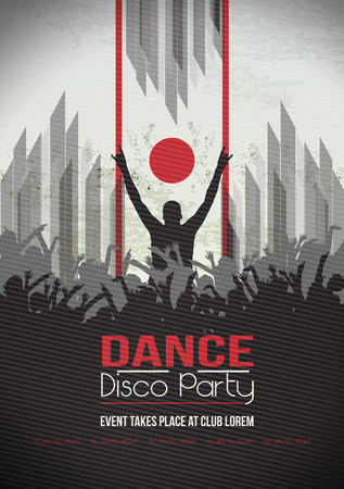 urban people: Dancing People Party Crowd Disco Background - Vector Illustration