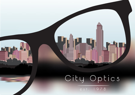 optometrist: Out of Focus Business Building City with Sky and with Glasses that Correct the Vision - Vector Illustration