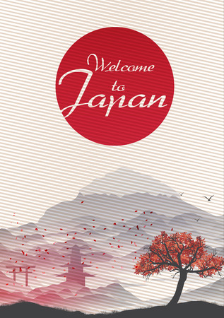 japanese: Japanese Vintage Background Postcard Template - Vector Illustration