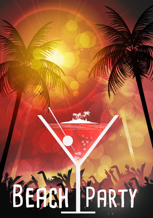 party design: Tropical Cocktail Party Poster Design - Vector Illustration Illustration