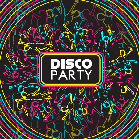Dancing People Party Crowd Disco Background - Vector Illustration
