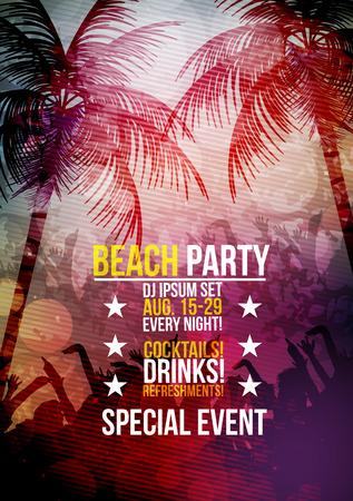 beach sunset: Summer Beach Party Poster - Vector Illustration Illustration