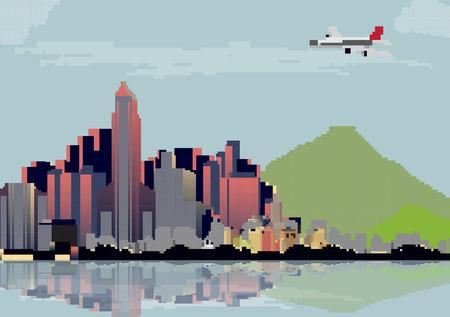 city street: City Skyline - Vector Illustration