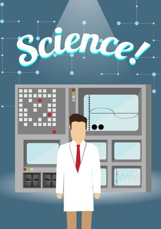 computer scientist: Scientist in Lab Concept with Retro Computer Device - Vector Illustration Illustration