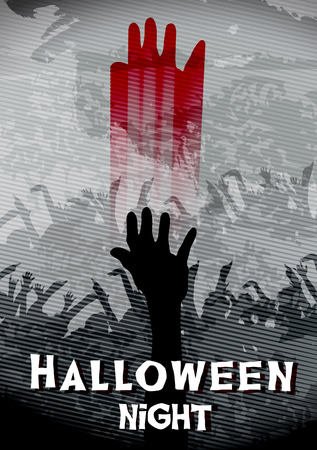 wraith: Halloween Poster with Bloody Hand and Zombie Crowd - Vector Illustration